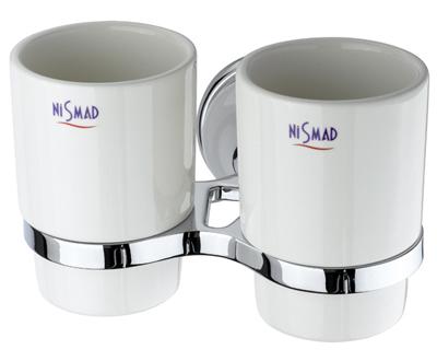 Szamos Kettős fogmosó pohár, tartóval (króm-fehér porcelán)