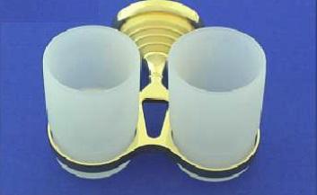 Rába Kettős fogmosó pohár, tartóval (arany-matt arany)
