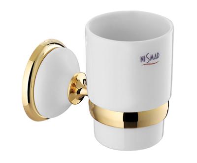 Szamos Fogmosó pohár, tartóval (arany-fehér porcelán)