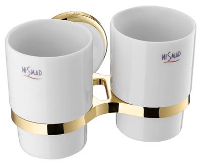 Szamos Kettős fogmosó pohár, tartóval (arany-fehér porcelán)