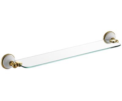 Szamos 62 cm-es üveg polc (arany-fehér porcelán)