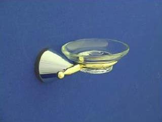 Nyitra Üveg szappantartó, tartóval (arany-króm)