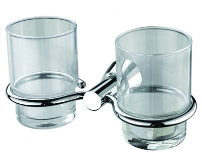 Bodrog Kettős fogmosó pohár, tartóval (króm)